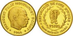 World Coins - Coin, Ivory Coast, 25 Francs, 1966, MS(63), Gold, KM:3