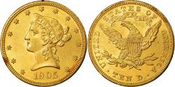 Us Coins - Coin, United States, Coronet Head, $10, Eagle, 1905, U.S. Mint, Philadelphia