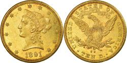 Us Coins - Coin, United States, Coronet Head, $10, Eagle, 1891, U.S. Mint, Carson City