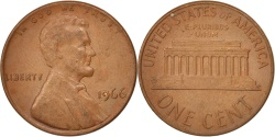 Us Coins - United States, Lincoln Cent, 1966, Philadelphia, , KM:201