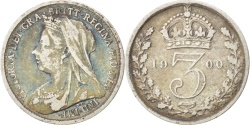 World Coins - Great Britain, 3 Pence, 1900, KM #777, , Silver, 16, 1.38