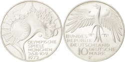 World Coins - GERMANY - FEDERAL REPUBLIC, 10 Mark, 1972, Stuttgart, KM #133, ,...
