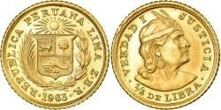 World Coins - Coin, Peru, 1/5 Libra, Pound, 1963, Lima, , Gold, KM:210