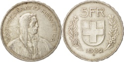 World Coins - Switzerland, 5 Francs, 1932, Bern, , Silver, KM:40
