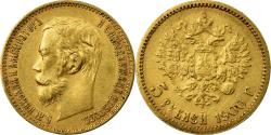 World Coins - Russia, Nicholas II, 5 Roubles, 1900, St. Petersburg, , Gold, KM:62