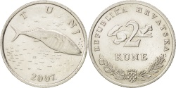 World Coins - CROATIA, 2 Kune, 2007, KM #10, , Copper-Nickel-Zinc, 24.5, 6.23