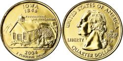 Us Coins - Coin, United States, Iowa, Quarter, 2004, U.S. Mint, Philadelphia, golden
