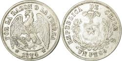World Coins - Coin, Chile, Peso, 1874, Santiago, , Silver, KM:142.1