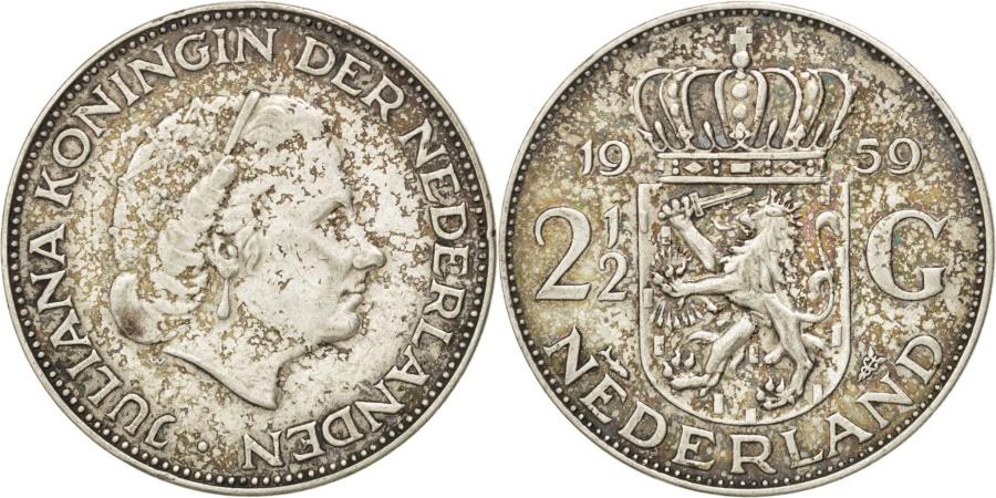 World Coins - NETHERLANDS, 2-1/2 Gulden, 1959, KM #185, , Silver, 33, 15.00