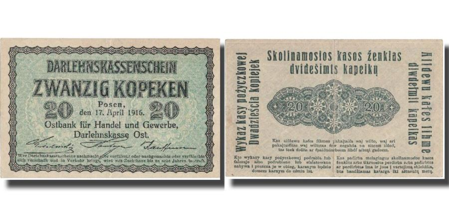 World Coins - Banknote, Germany, 20 Kopeken, 1916, 1916, KM:R120, AU(50-53)