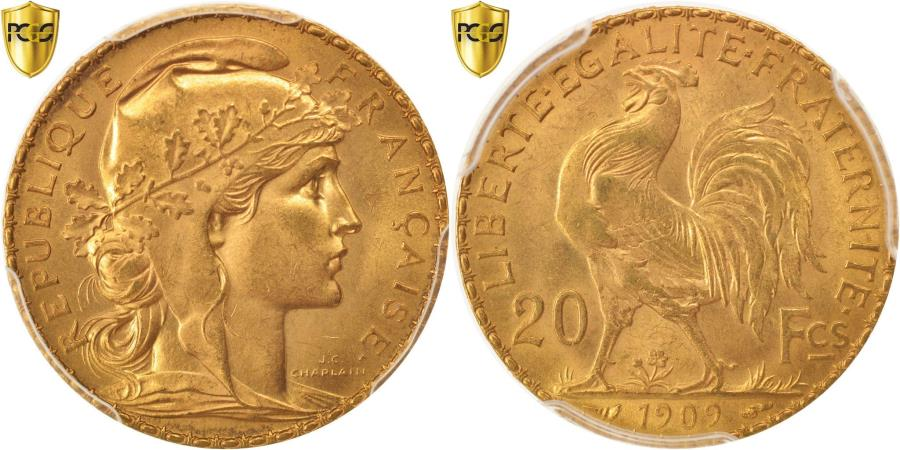 World Coins - Coin, France, Marianne, 20 Francs, 1909, PCGS, MS66, , Gold, KM:857