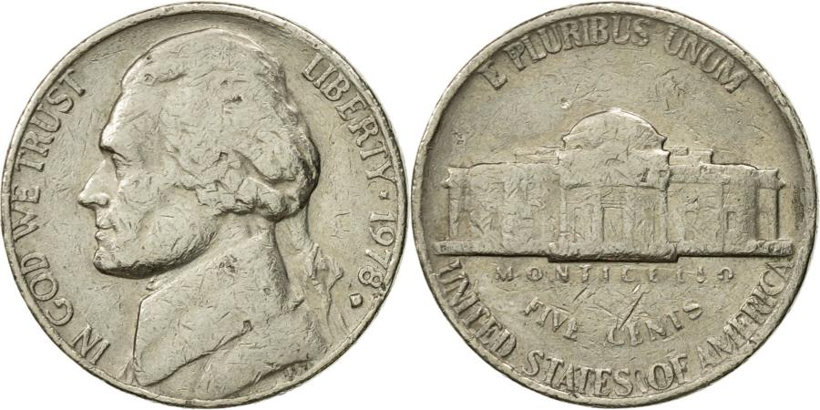 US Coins - Coin, United States, Jefferson Nickel, 5 Cents, 1978, U.S. Mint, Philadelphia