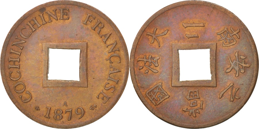 World Coins - FRENCH COCHIN CHINA, 2 Sapeque, 1879, Paris, , Bronze, KM:2