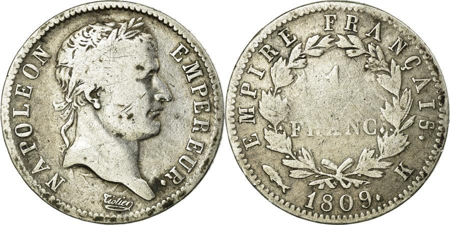 World Coins - Coin, France, Napoléon I, Franc, 1809, Bordeaux, F(12-15), Silver, KM:692.8