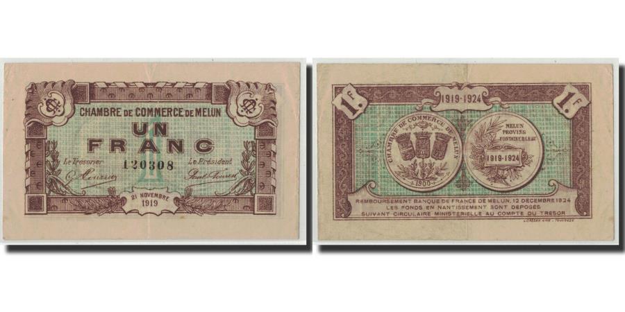 france melun 1 franc 1919 vf 30 35 pirot 80 7. Black Bedroom Furniture Sets. Home Design Ideas