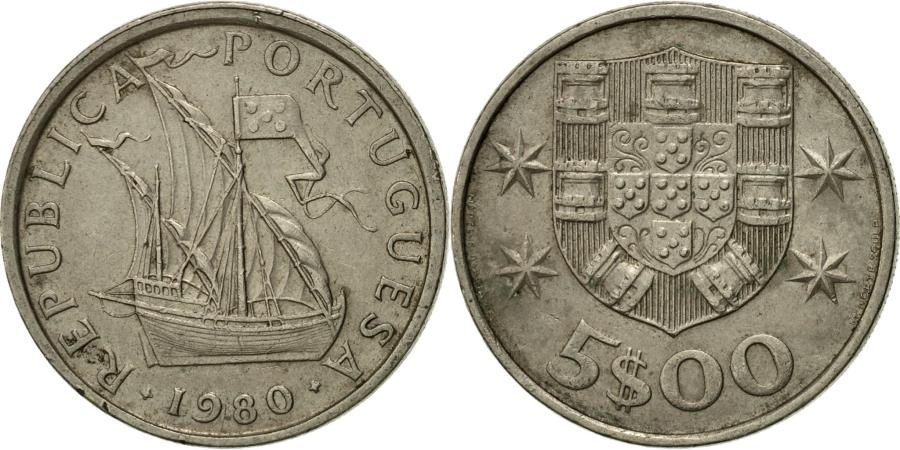 World Coins - Coin, Portugal, 5 Escudos, 1980, , Copper-nickel, KM:591