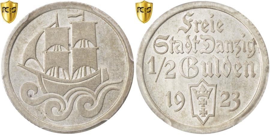 World Coins - Coin, DANZIG, 1/2 Gulden, 1923, PCGS, AU58, , Silver, KM:144, graded