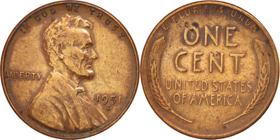 US Coins - UNITED STATES, Lincoln Cent, Cent, 1951, U.S. Mint, KM #A132, , Brass,.