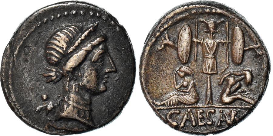 Ancient Coins - Coin, Julius Caesar, Denarius, 46-45 BC, Traveling Mint, , Silver