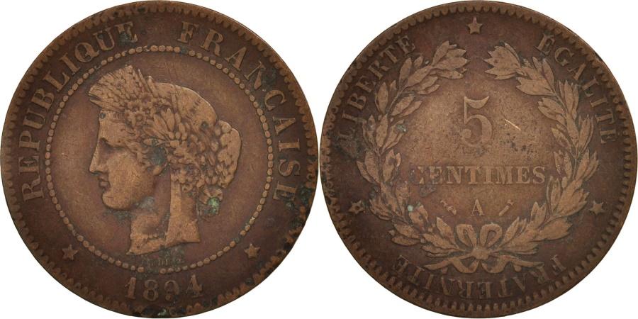 World Coins - France, Cérès, 5 Centimes, 1894, Paris, , Bronze, KM:821.1