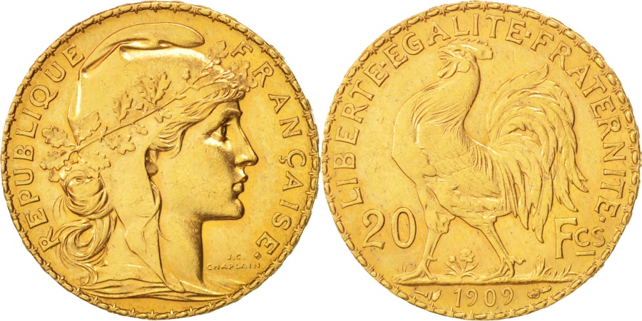 World Coins - France, Marianne, 20 Francs, 1909, , Gold, KM:857, Gadoury:1064a