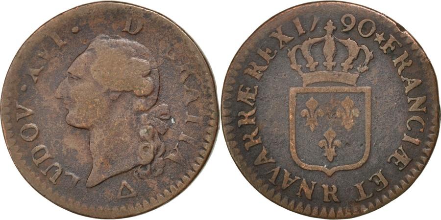 World Coins - FRANCE, Sol ou sou, Sol, 1790, Orl, KM #578.14, , Copper, Gadoury...