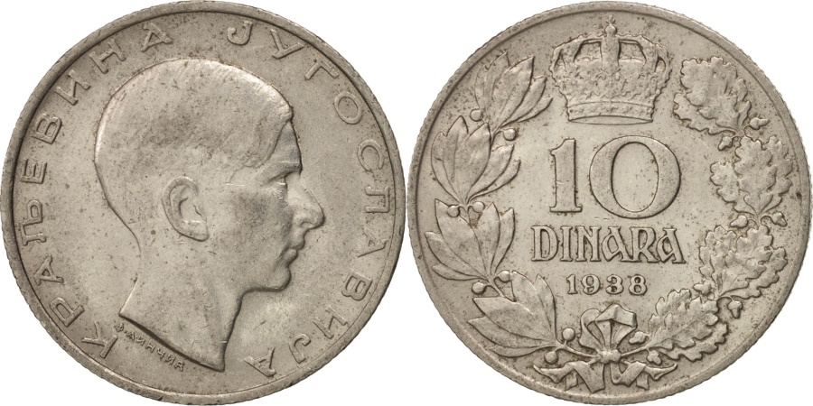 World Coins - Yugoslavia, Petar II, 10 Dinara, 1938, , Nickel, KM:22