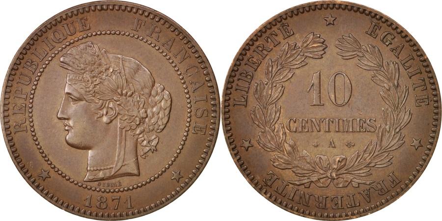 World Coins - France, Cérès, 10 Centimes, 1871, Paris, , Bronze, KM:815.1, Gadoury265