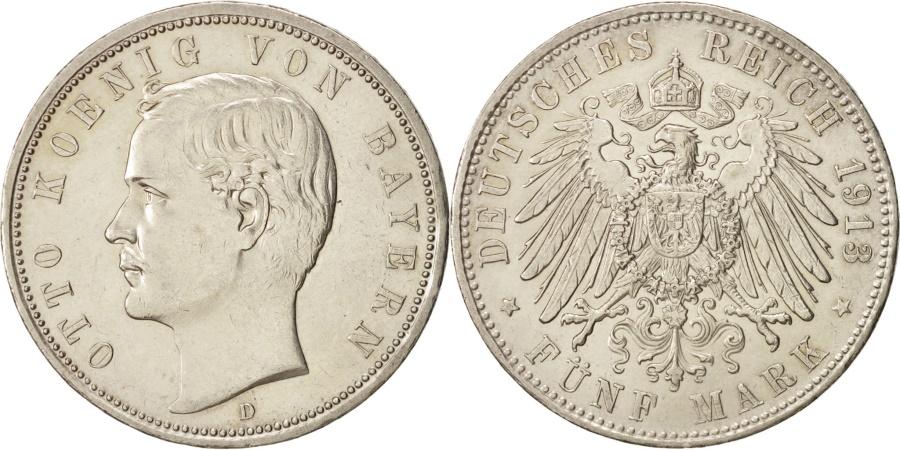 World Coins - German States, BAVARIA, Otto, 5 Mark, 1913, Munich, , Silver, KM:915