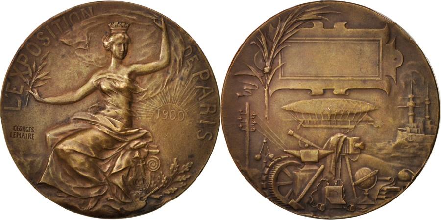 World Coins - France, Medal, Exposition de Paris, Politics, Society, War, 1900, Lemaire