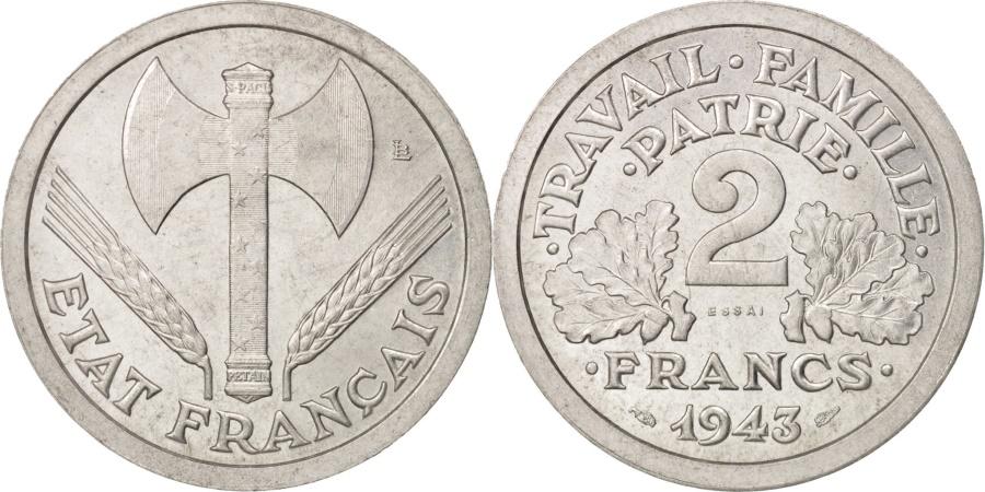 World Coins - France, Bazor, Essai, 2 Francs, 1943, PCGS SP66, Aluminum, KM:E85