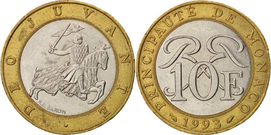 World Coins - Monaco, Rainier III, 10 Francs, 1993, , Bi-Metallic, KM:163