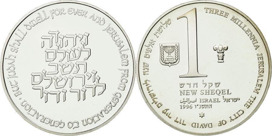 World Coins - Coin, Israel, New Sheqel, 1996, Stuttgart, MS(65-70), Silver, KM:284