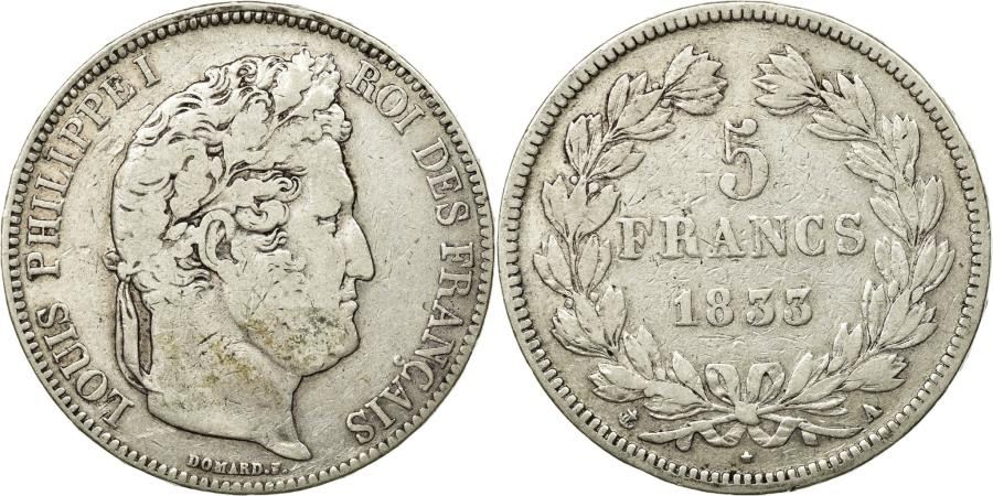 World Coins - Coin, France, Louis-Philippe, 5 Francs, 1833, Paris, VF(20-25), Silver