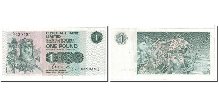 World Coins - Banknote, Scotland, 1 Pound, 1975, 1975-01-06, KM:204c, AU(55-58)
