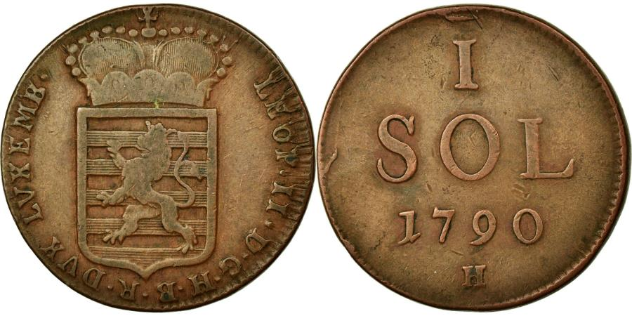 World Coins - Coin, Luxembourg, Leopold II, Sol, 1790, G, EF(40-45), Copper, KM:15