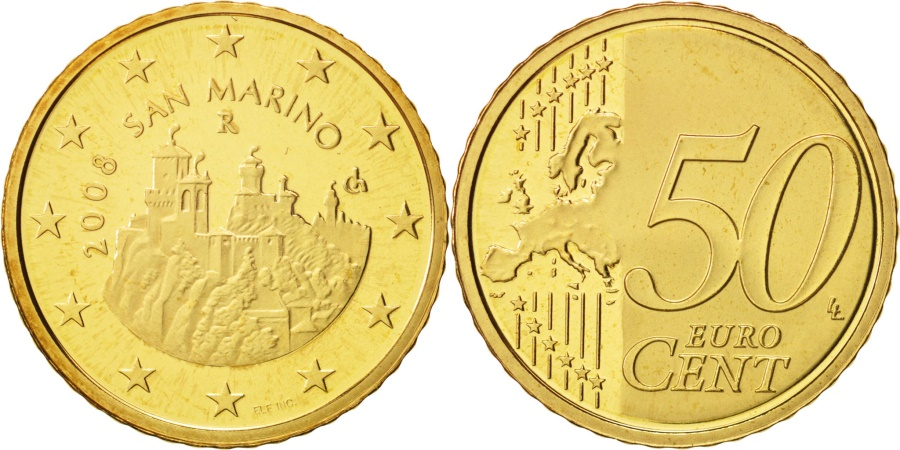 World Coins - San Marino, 50 Euro Cent, 2008, , Brass, KM:484