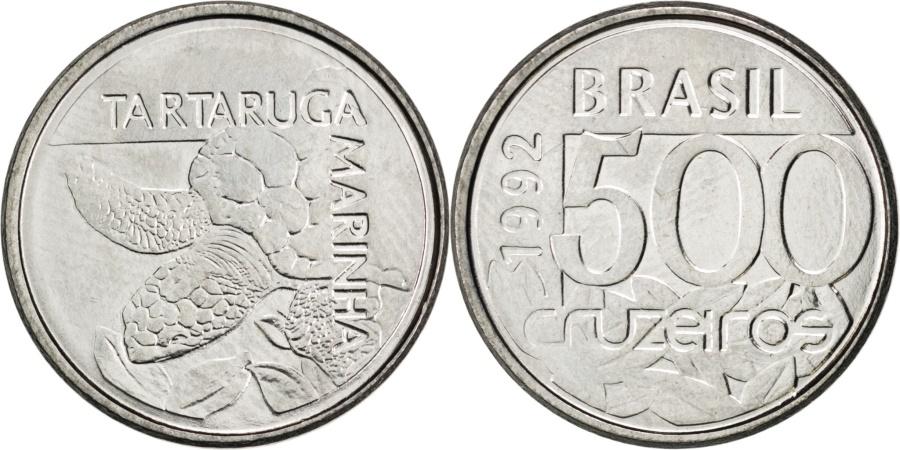World Coins - BRAZIL, 500 Cruzeiros, 1992, KM #624, , Stainless Steel, 19, 2.61