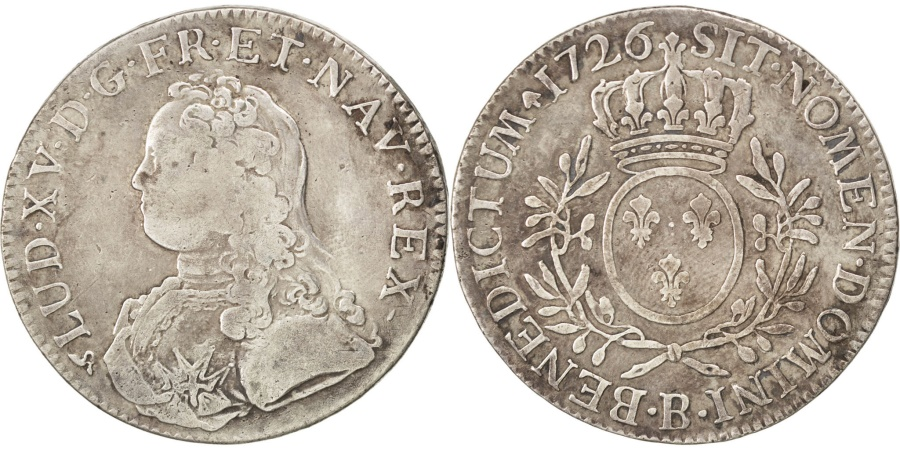 World Coins - FRANCE, Écu aux branches d'olivier, ECU, 1726, Rouen, KM #486.3, , ...