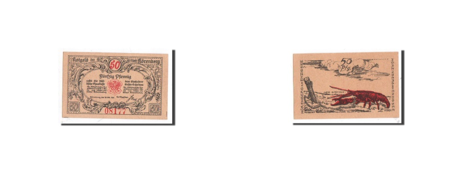 World Coins - Germany, Norenberg, 50 Pfennig, homard, 1921-10-18, UNC(65-70), Mehl:979.37