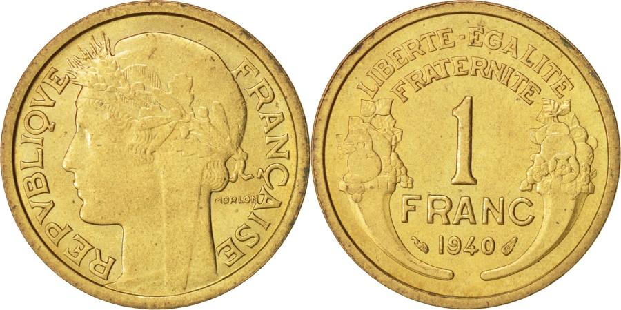 World Coins - France, Morlon, Franc, 1940, Paris, , Aluminum-Bronze, KM:885