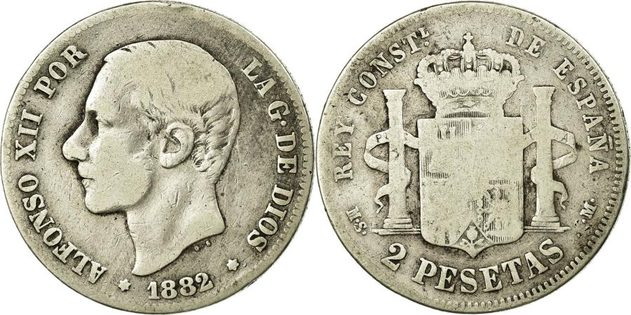 World Coins - Coin, Spain, Alfonso XII, 2 Pesetas, 1882, Madrid, , Silver, KM:678.2