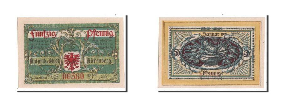 World Coins - Germany, Norenberg Stadt, 50 Pfennig, 1921, UNC(63), 00560, Mehl #979.43