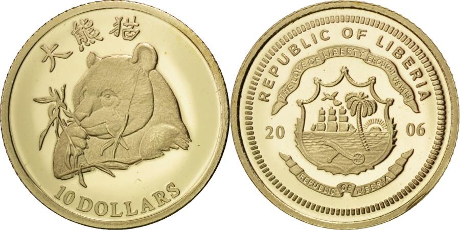World Coins - Liberia, 10 Dollars, 2006, , Gold, 0.50