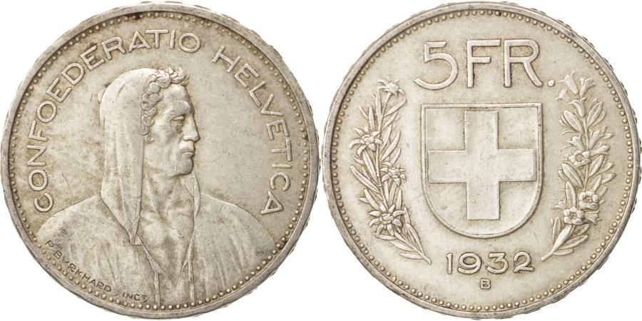 World Coins - Switzerland, 5 Francs, 1932, Bern, , Silver, KM:40