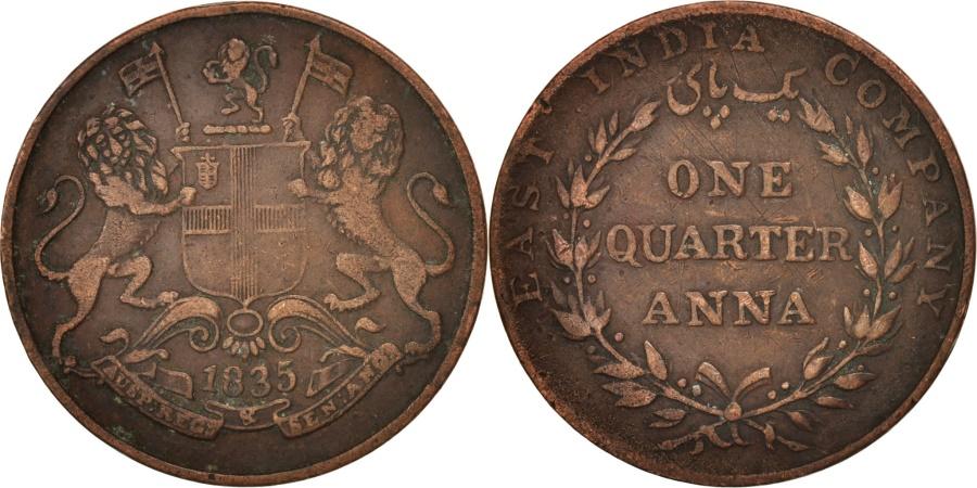 World Coins - INDIA-BRITISH, 1/4 Anna, 1835, , Copper, KM:446.1