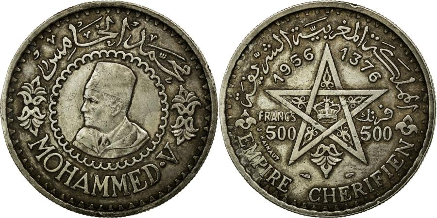 World Coins - Coin, Morocco, Mohammed V, 500 Francs, 1956, AU(50-53), Silver, Lecompte:293