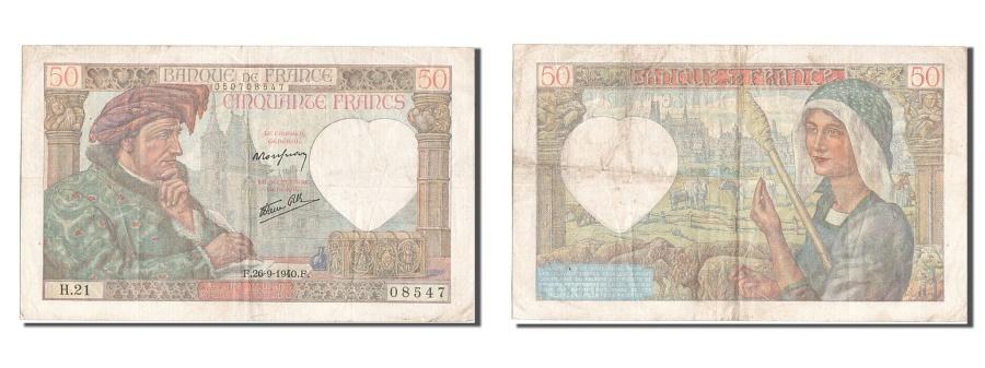 World Coins - France, 50 Francs, 50 F 1940-1942 ''Jacques Coeur'', 1940, KM #93, 1940-09-26,..