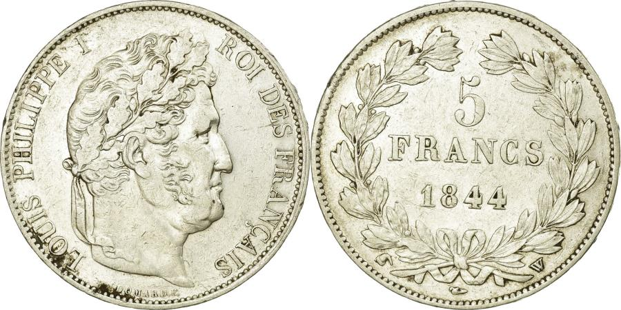 World Coins - Coin, France, Louis-Philippe, 5 Francs, 1844, Lille, AU(50-53), Silver