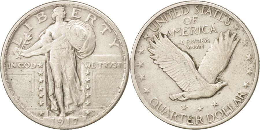 US Coins - United States, Standing Liberty Quarter, 1917, Philadelphia, EF, KM:145